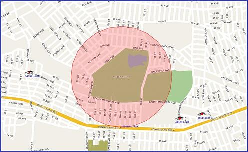 Circular geofence